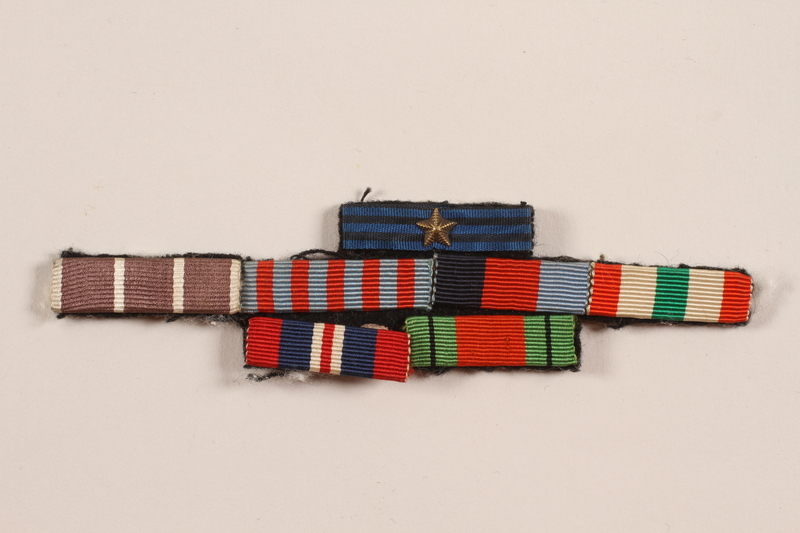 2012.471.23 front Riband bar with seven ribbons awarded to a Jewish soldier, 2nd Polish Corps