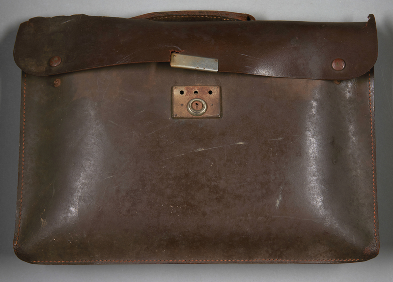 2013.117.2 front Dark brown leather briefcase brought to the US by a Jewish Hungarian refugee