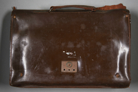 2013.117.2 back Dark brown leather briefcase brought to the US by a Jewish Hungarian refugee  Click to enlarge