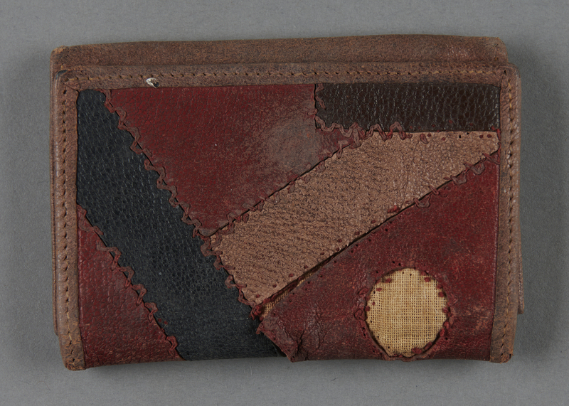 2013.117.4 front Patchwork leather wallet brought to the US by a Jewish Hungarian refugee