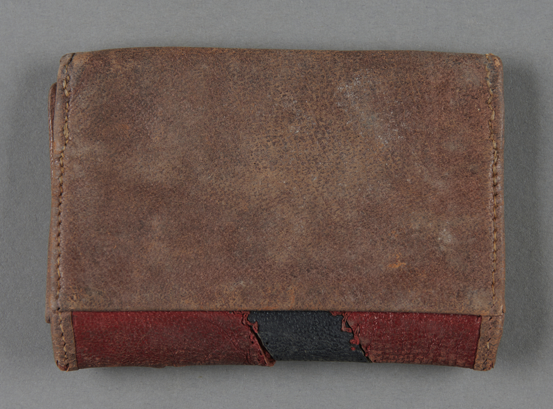 2013.117.4 back Patchwork leather wallet brought to the US by a Jewish Hungarian refugee
