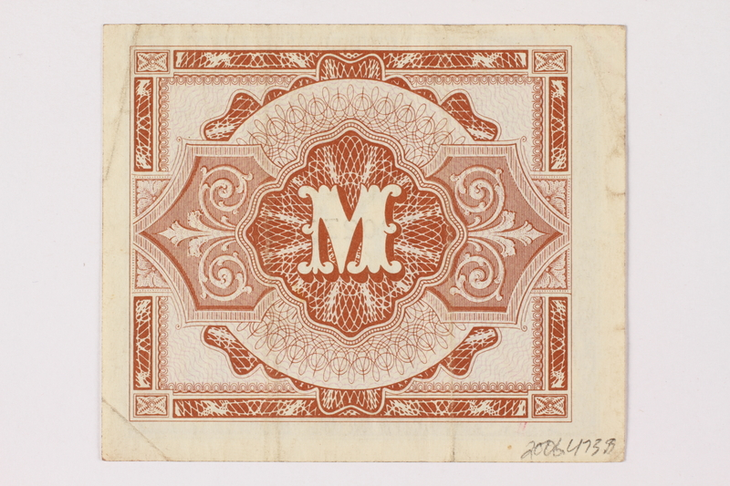 2006.473.8 back Allied Military Authority currency, German ½ mark, acquired by a female forced laborer
