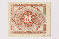 2006.473.8 back Allied Military Authority currency, German ½ mark, acquired by a female forced laborer  Click to enlarge