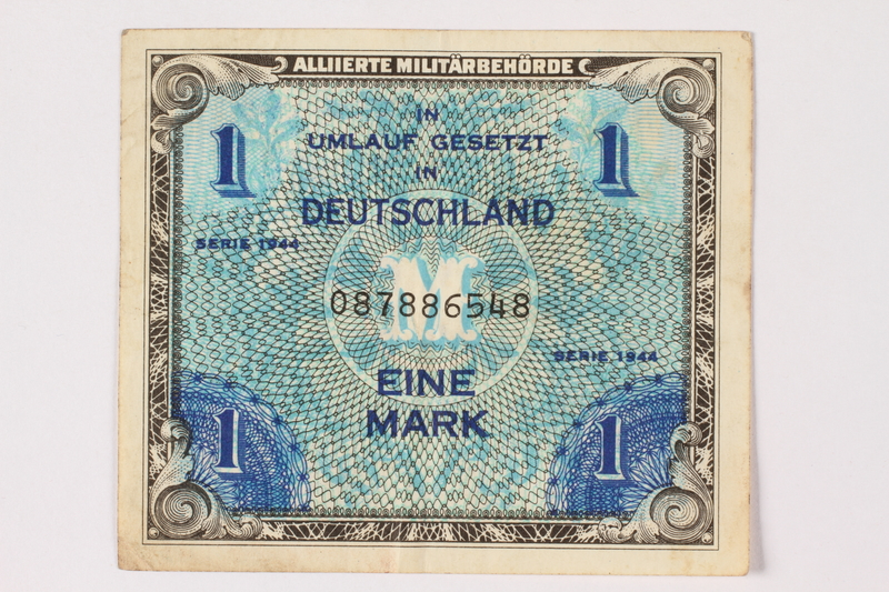 2006.473.9 front Allied Military Authority currency, German 1 mark, acquired by a female forced laborer