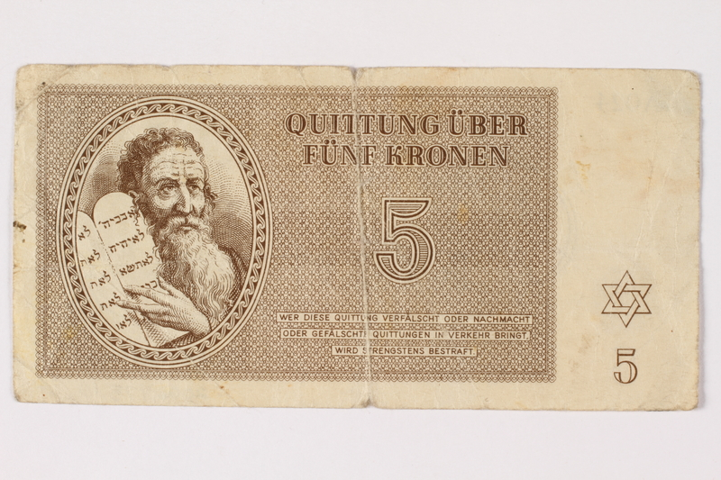 2006.473.10 front Theresienstadt ghetto-labor camp scrip, 5 kronen note, acquired by a female forced laborer