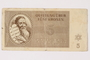 Theresienstadt ghetto-labor camp scrip, 5 kronen note, acquired by a female forced laborer