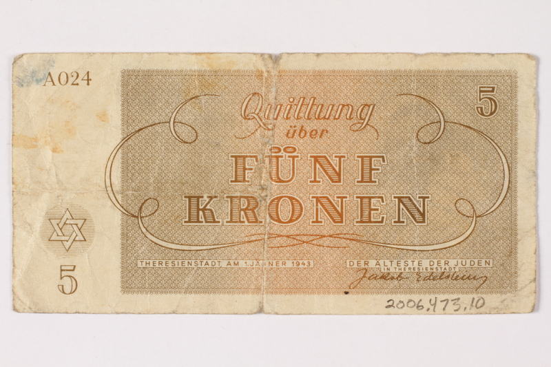 2006.473.10 back Theresienstadt ghetto-labor camp scrip, 5 kronen note, acquired by a female forced laborer