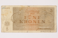 2006.473.10 back Theresienstadt ghetto-labor camp scrip, 5 kronen note, acquired by a female forced laborer  Click to enlarge