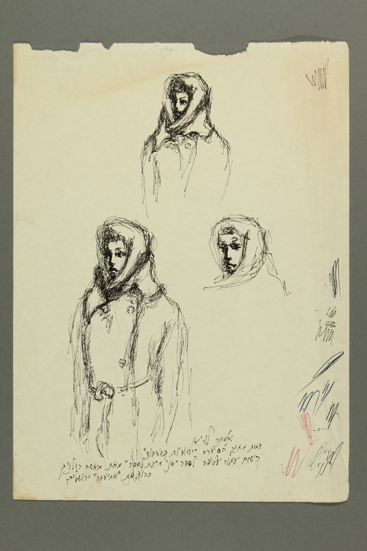 1995.A.0989.8 front Sketches of a fellow concentration camp inmate by Esther Lurie