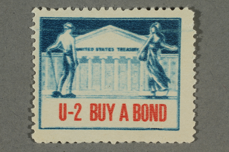 2018.233.5 front Poster stamp encouraging Americans to buy war bonds
