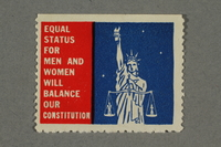 2018.233.7 front Poster stamp promoting equal rights for women  Click to enlarge