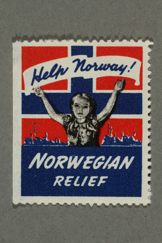 2018.233.8 front Poster stamp advocating war time assistance to Norway