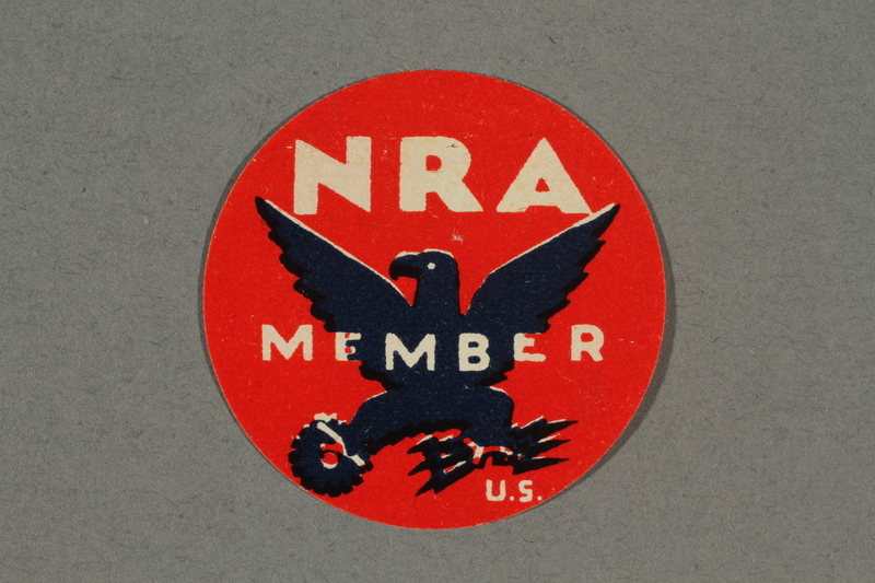 2018.233.9 front Circular NRA (National Recovery Administration) membership stamp