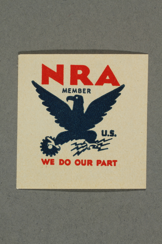 2018.233.10 front Square NRA (National Recovery Administration) membership stamp