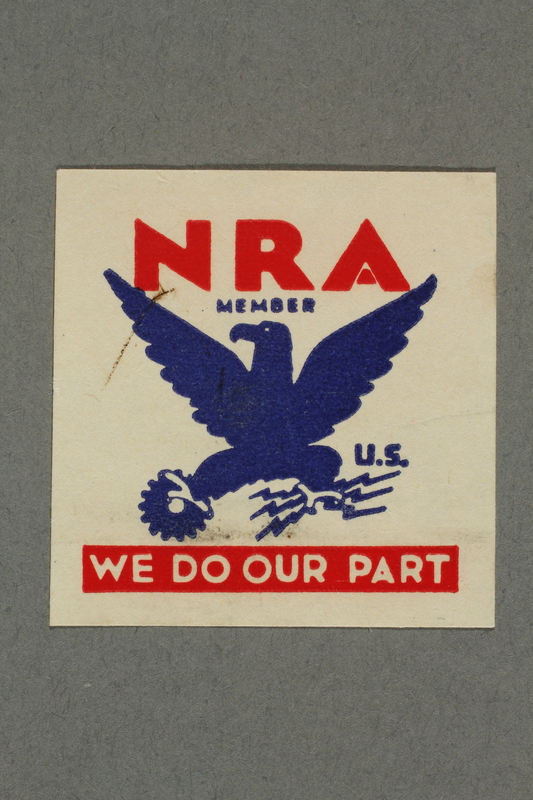 2018.233.11 front Square NRA (National Recovery Administration) membership stamp