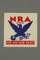 2018.233.11 front Square NRA (National Recovery Administration) membership stamp  Click to enlarge