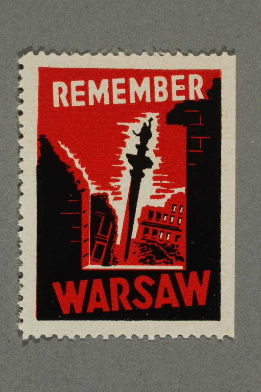 2018.233.12 front Poster stamp commemorating the Warsaw Uprising