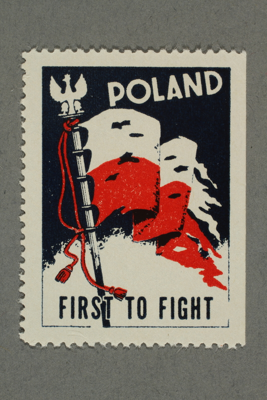 2018.233.13 front Poster stamp with a tattered Polish flag