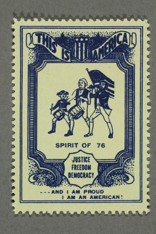 2018.233.14 front Patriotic American poster stamp with fife and drum corps