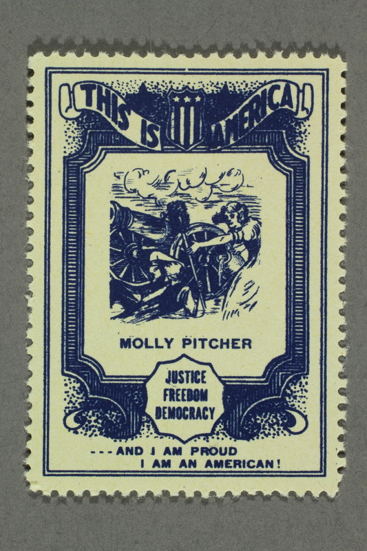 2018.233.15 front Patriotic American poster stamp with a woman loading a cannon