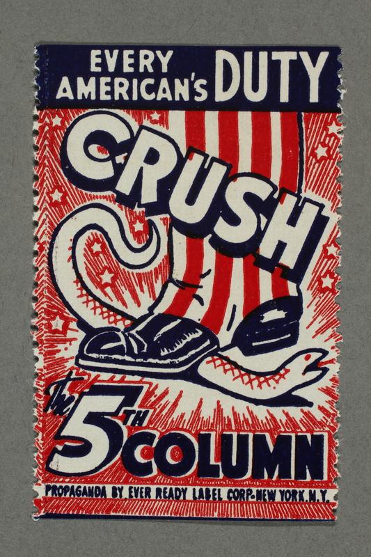 2018.233.21 front Propaganda poster stamp warning of subversive elements during WWII