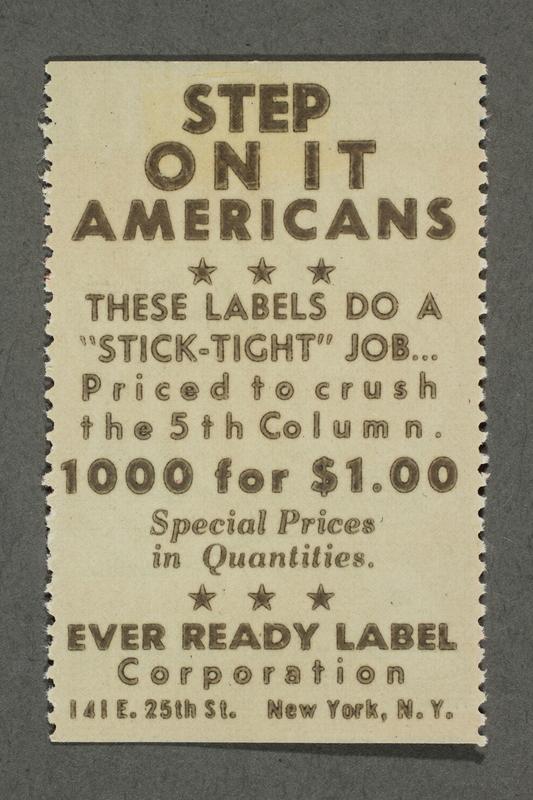 2018.233.21 back Propaganda poster stamp warning of subversive elements during WWII