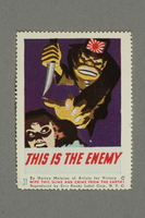 2018.233.24 front WWII Anti-Japanese propaganda poster stamp  Click to enlarge
