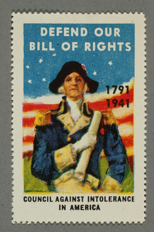 2018.233.25 front Poster stamp celebrating the sesquicentennial of the Bill of Rights