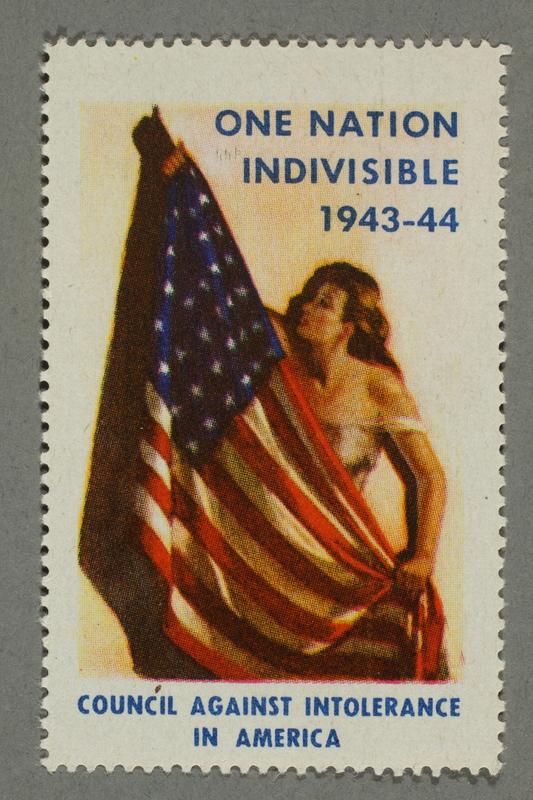 2018.233.26 front Patriotic American flag poster stamp