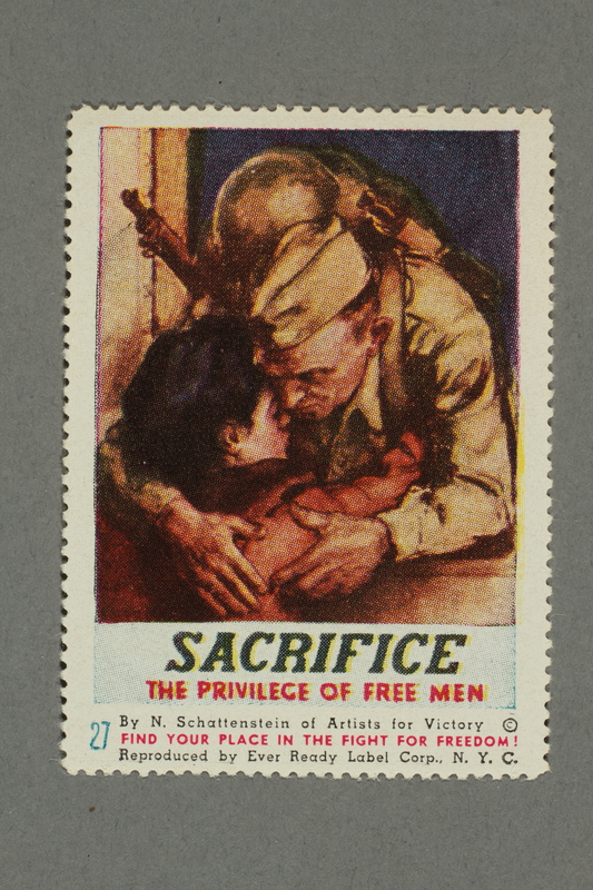 2018.233.27 front Poster stamp encouraging support of American troops in WWII