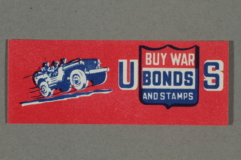 2018.233.28 front WWII poster stamp with a Jeep promoting buying US war bonds