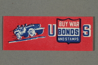 2018.233.28 front WWII poster stamp with a Jeep promoting buying US war bonds  Click to enlarge
