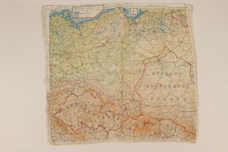 2012.471.25 front 2-sided silk escape map of Central/ East Europe owned by Jewish soldier, 2nd Polish Corps