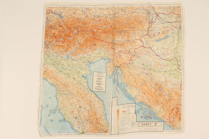 2012.471.25 back 2-sided silk escape map of Central/ East Europe owned by Jewish soldier, 2nd Polish Corps