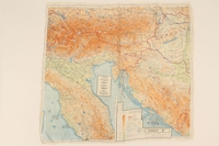 2012.471.25 back 2-sided silk escape map of Central/ East Europe owned by Jewish soldier, 2nd Polish Corps  Click to enlarge