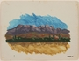 Watercolor of purple hued mountains and colored landscape by a Jewish soldier, 2nd Polish Corps