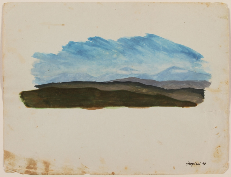 2012.471.35 front Watercolor of receding green mountains under a blue sky by a Jewish soldier, 2nd Polish Corps