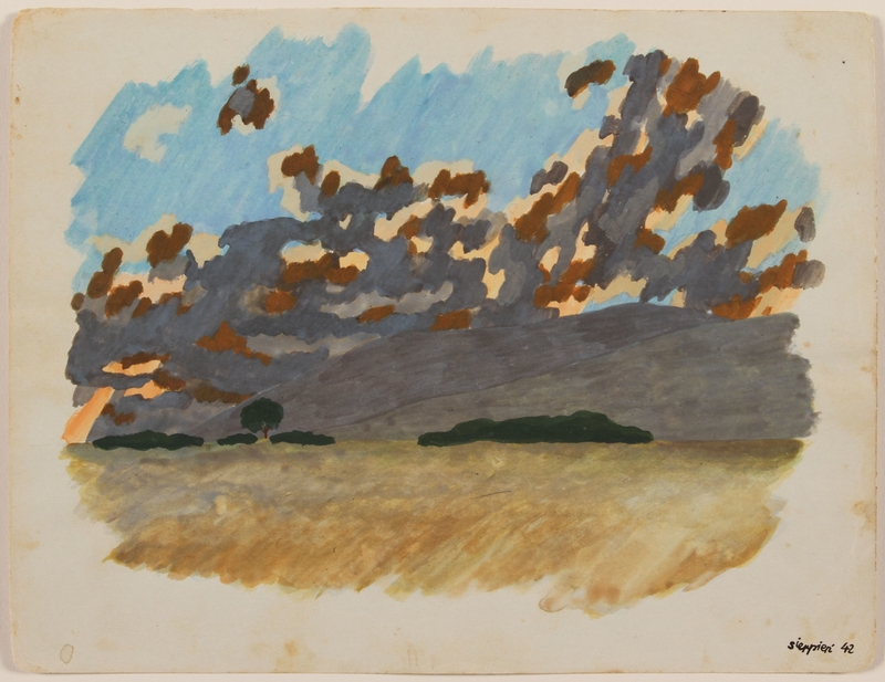 2012.471.36 front Watercolor of a yellow field leading to blue and gray mountains created by a young Jewish soldier, 2nd Polish Corps