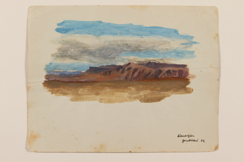 2012.471.38 front Watercolor of craggy mountain range with a cloud-filled sky by a young Jewish soldier, 2nd Polish Corps