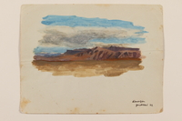 2012.471.38 front Watercolor of craggy mountain range with a cloud-filled sky by a young Jewish soldier, 2nd Polish Corps  Click to enlarge