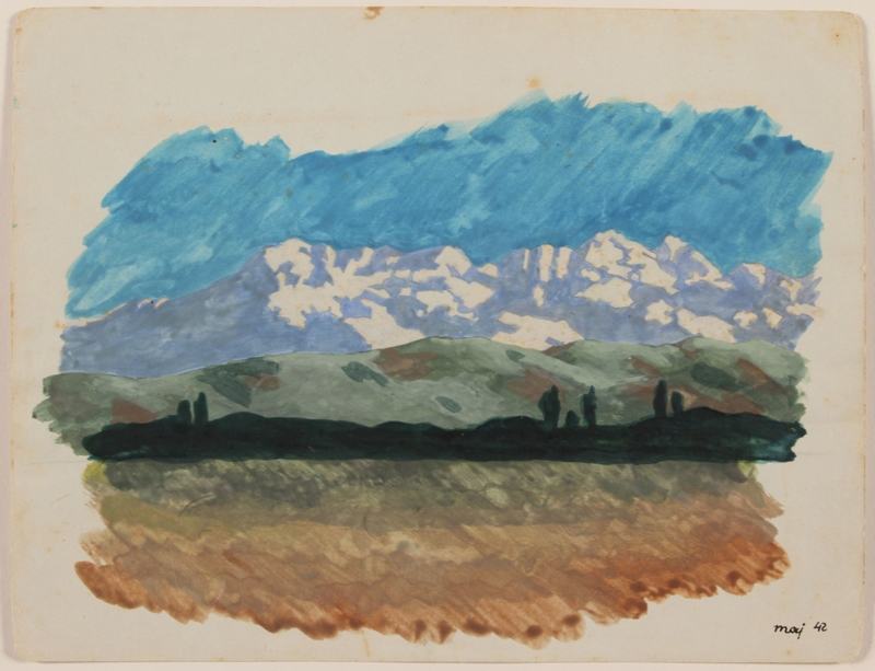 2012.471.32 front Watercolor of gold and green fields leading to snow-covered mountains created by a Jewish soldier, 2nd Polish Corps