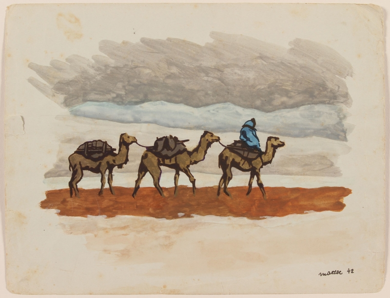 2012.471.27 front Watercolor of 3 camels with packs and rider created by a Jewish soldier, 2nd Polish Corps