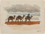 Watercolor of 3 camels with packs and rider created by a Jewish soldier, 2nd Polish Corps