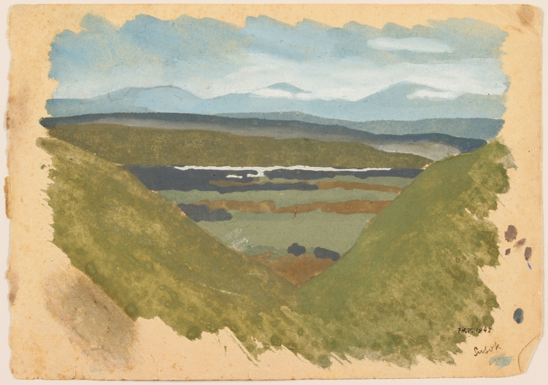2012.471.30 front Watercolor of a green valley near mountain lookout created by a Jewish soldier, 2nd Polish Corps