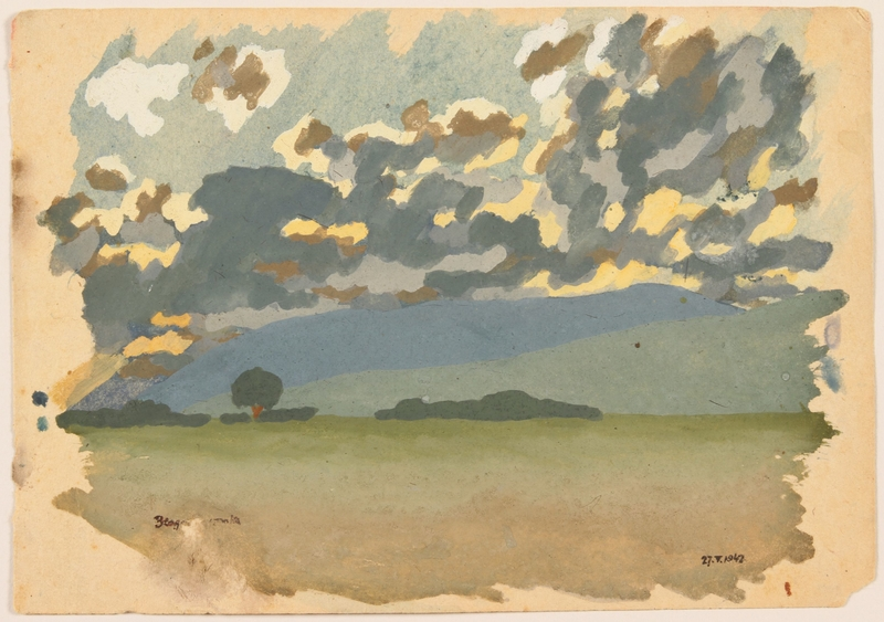 2012.471.29 front Watercolor of a wooded grove created by a Jewish soldier, 2nd Polish Corps