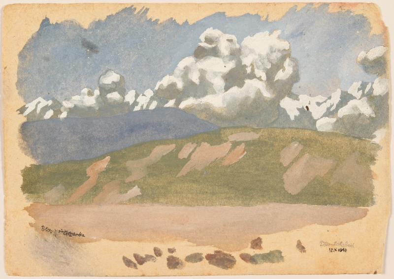 2012.471.31 front Watercolor of puffy clouds over distant mountains by a Jewish soldier, 2nd Polish Corps