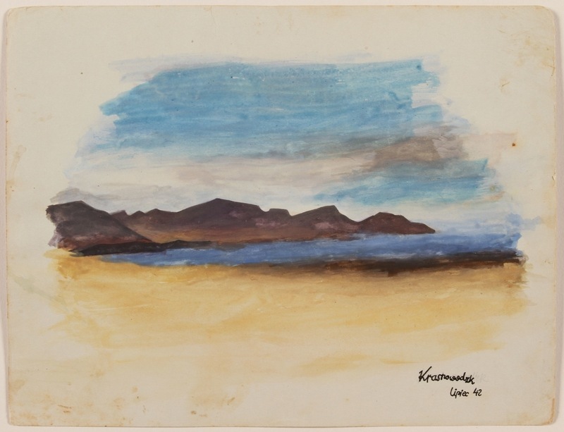 2012.471.33 front Watercolor of mountains and a shoreline painted by a Jewish soldier, 2nd Polish Corps
