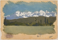 2012.471.28 front Watercolor of snowy mountains created by a Jewish soldier, 2nd Polish Corps  Click to enlarge