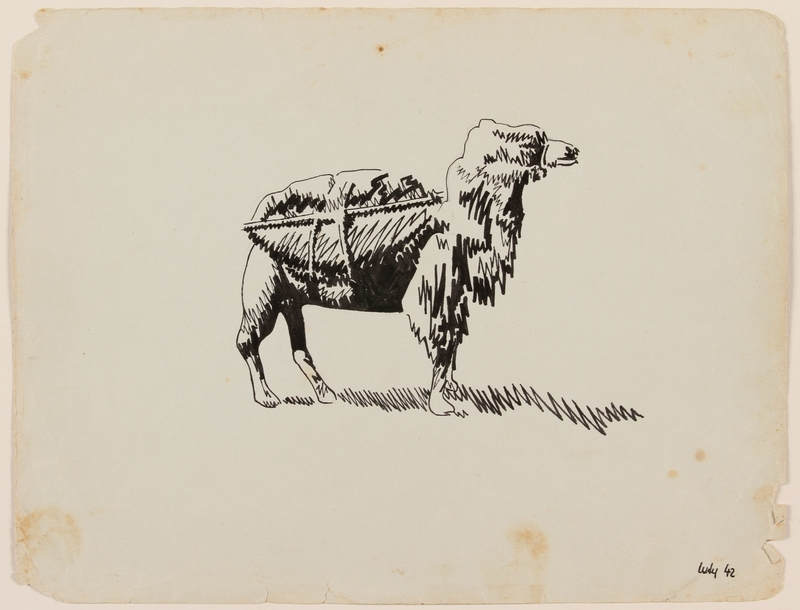 2012.471.26 front Drawing of a shaggy camel with pack created by a Jewish soldier, 2nd Polish Corps