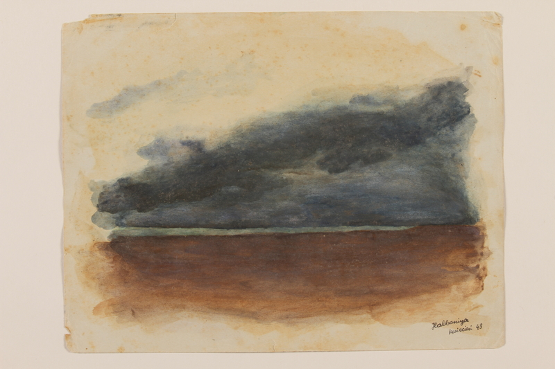 2012.471.51 front Watercolor of a blue lake, brown sands and a deep blue sky created by a Jewish soldier, 2nd Polish Corps